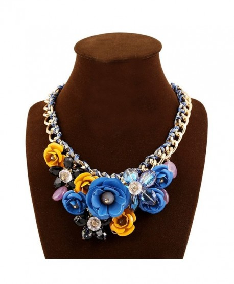 Yeshion Rose Flower Statement Necklace Fashion Crystal Chokers For Women - Blue+Yellow - C9183MXAMZ7