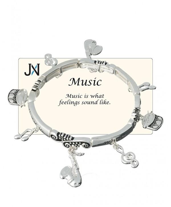 "Music Theme Charm Bracelet ""Music is what feelings sound like."" - Jewelry Nexus - CI11DS4HXM5"