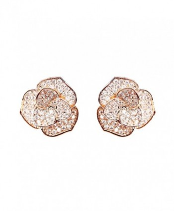 EVERU Fashion Jewelry Rose Gold Flower Stud Earrings - CF12FQHOZWH
