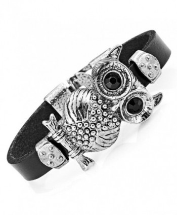 Stunning Leather Crystal Black Owl Cuff Bracelet (Silver Color) - CP11K3BLPM5