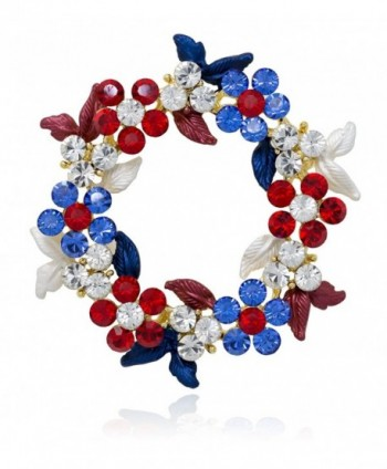 Akianna Gold-tone Swarovski Element Crystals Wreath Pin Brooch Patriotic Red White Blue - CJ12CW7DO2B