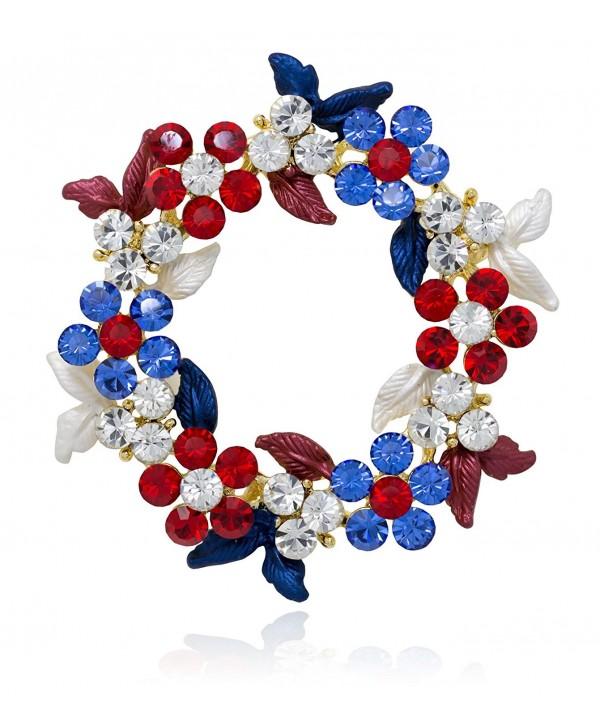 Akianna Gold-tone Swarovski Element Crystals Wreath Pin Brooch Patriotic Red White Blue - CJ12CW7DO2B