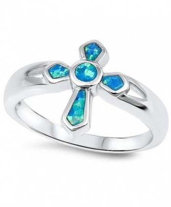 Lab Created Blue Opal Cross .925 Sterling Silver Ring Sizes 5-10 - C511MBK154J