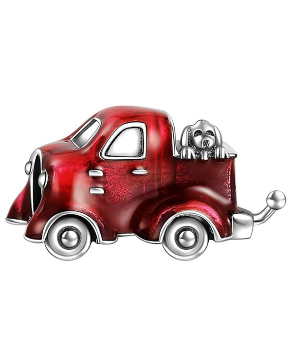 SOUFEEL Pickup Truck with A Dog Charm 925 Sterling Silver Charms Fit European Bracelets - C912H7S5B4J