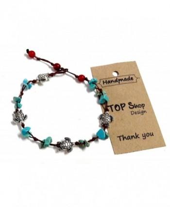 Anklet or Bracelet Turtle Steel Stone Blue Turquoise Bead 26 cm.Handmade for Women Teens and Girls - CN12JQ5E6IN