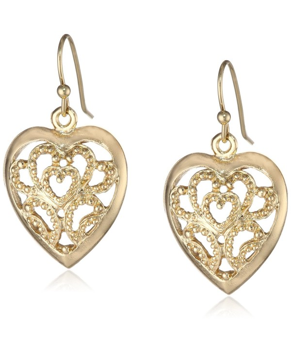 "1928 Jewelry ""Basic Classics"" Filigree Heart Drop Earrings - Gold-Tone - CW11F0CG7BB"
