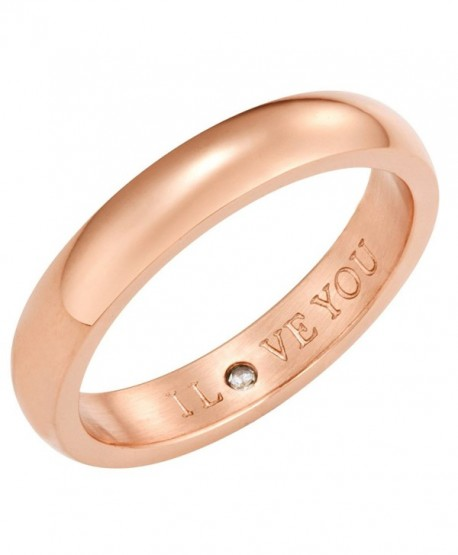 Secret Love Stones Band Ring engraved I Love You with CZ- Rose Gold Tone by Taylor and Vine - CM12NGFN6N3