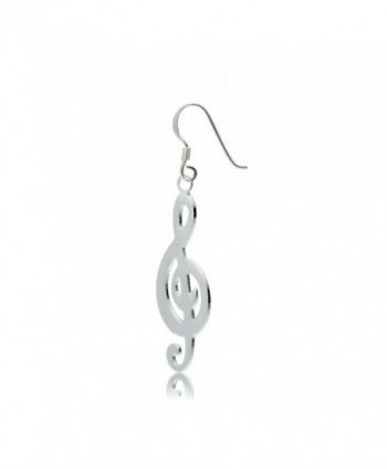 Sterling Silver Musical Polished Earrings in Women's Drop & Dangle Earrings
