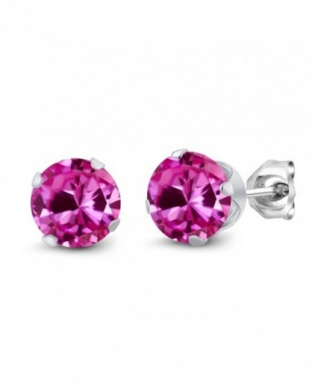 2.00 Ct Round 6mm Pink Created Sapphire 925 Sterling Silver Stud Earrings - CR11GH4D9VH
