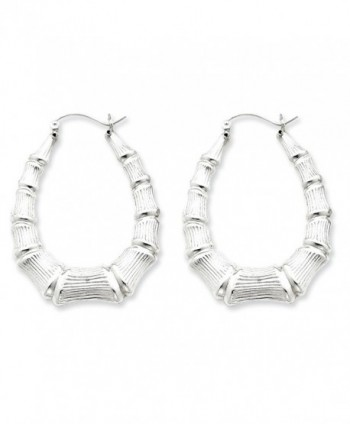 Sterling Silver Oval Bamboo Hoop Earrings - CA113PTKMJT
