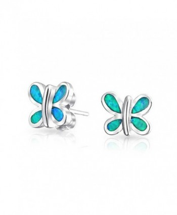 Bling Jewelry Simulated Blue Opal Inlay Butterfly Animal Stud earrings 925 Sterling Silver 9mm - CR11JXZERC7