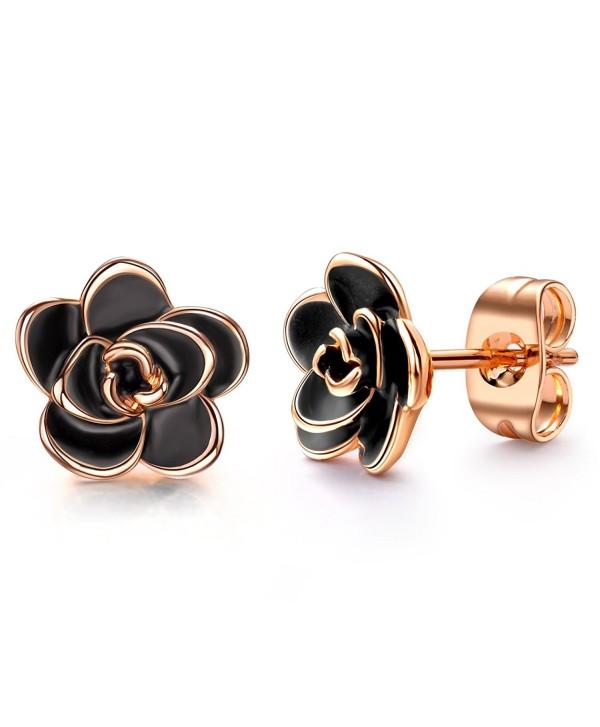 Allencoco 18K Gold Plated Black Rose Flower Stud Earrings - 18K Rose Gold Plated - CV12NSGLX8V