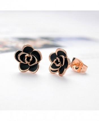 Allencoco Plated Black Flower Earrings