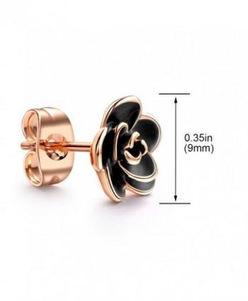 Allencoco Plated Black Flower Earrings in Women's Stud Earrings