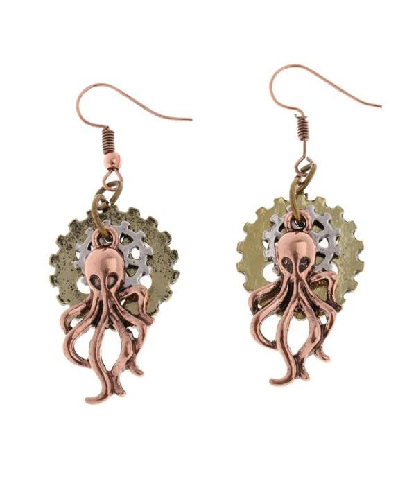 MagiDeal Vintage Steampunk Women Earring Long Earring Octopus Dangle Drop Gothic Jewelry - Antique Copper - CM12LW9X48J