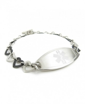 MyIDDr - Pre-Engraved & Customized Pacemaker Ladies Medical Bracelet- Steel & Black Hearts - CZ11KGVDBU1