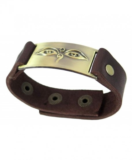 Buddha Eyes Bracelet- Leather- Adjustable - C5117F5L22F
