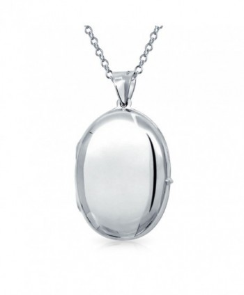 Bling Jewelry Timeless Polished Oval Locket Pendant Sterling SIlver Necklace 18 Inches - CE1178OLFYX