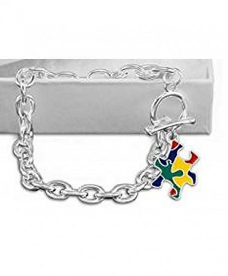 Autism Awareness Colorful Puzzle Piece Chunky Link Bracelet - CN12MNDVZRP