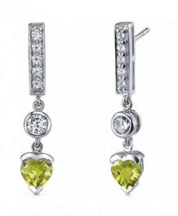Peridot Drop Earrings Sterling Silver Rhodium Nickel Finish 1.50 Carats - CL116LWJ36Z