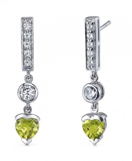 Peridot Drop Earrings Sterling Silver Rhodium Nickel Finish 1.50 Carats - CL116LWJ36Z