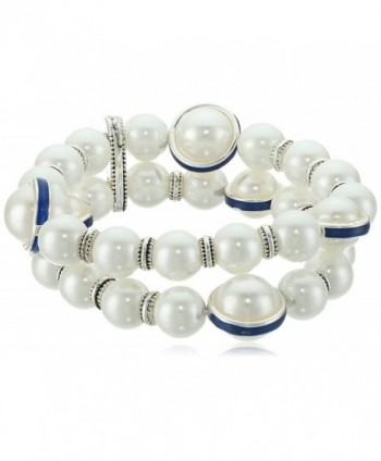 Napier Silver-Tone and White Pearl with Blue Stretch Bracelet - CD12NTFLEJ7