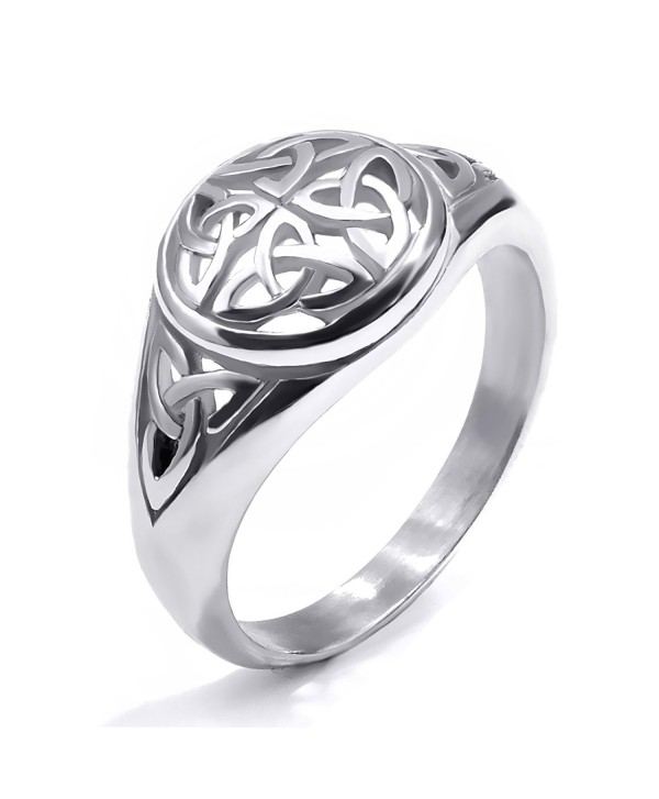 Elfasio Womens Girls Stainless Steel Ring Band Celtic Knot Silver Tone Fashion Jewelry - CA12NRARJG8