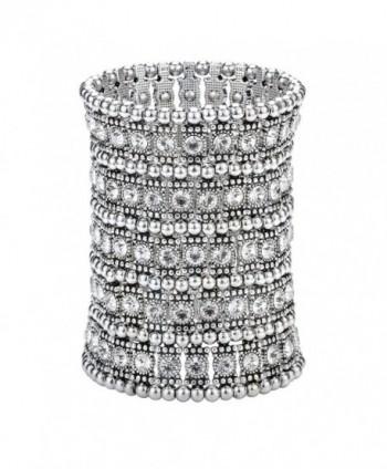 Szxc Jewelry Women's Multilayer Crystal Stretch Bracelet 5 Row - silver - C217YQEUKHQ