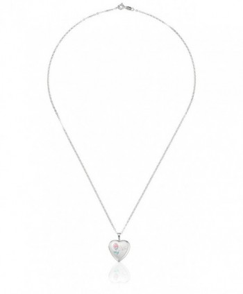 "Momento Lockets Sterling Silver Heart Shaped ""Mom"" Locket with Rose Necklace - CR1151VPRFX"