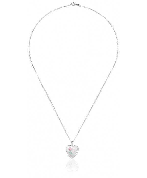 """Momento Lockets Sterling Silver Heart Shaped """"Mom"""" Locket with Rose Necklace - CR1151VPRFX"""
