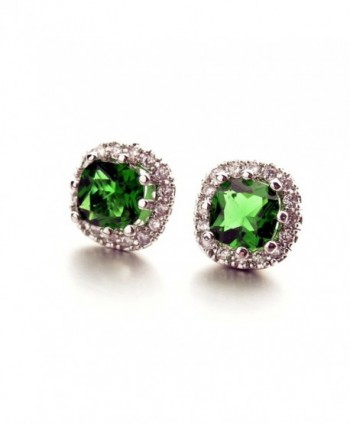 White Gold Plated Cushion Shaped Emerald Green Cubic Zirconia Crystal Stud Earrings Fashion Jewelry for Women - CS128C9D6O9