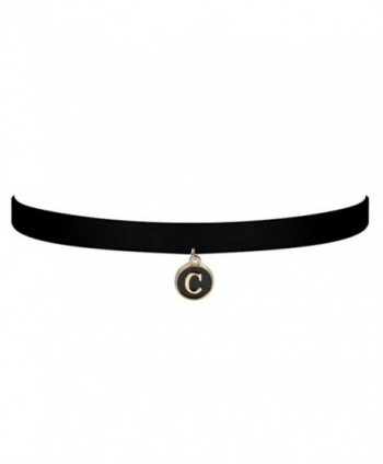 ZUOBAO Initial Necklace Script Initial Disc Choker Necklace Black Velvet Choker Necklace for Women - C - C712O9AXJ2H