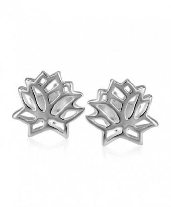 925 Sterling Silver Lotus Flower Stud Earrings - C811TU9OID9