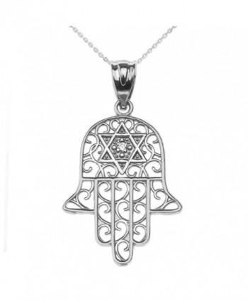 Diamond Hamsa Hand Sterling Silver Pendant Necklace - CR12CJE7VE9