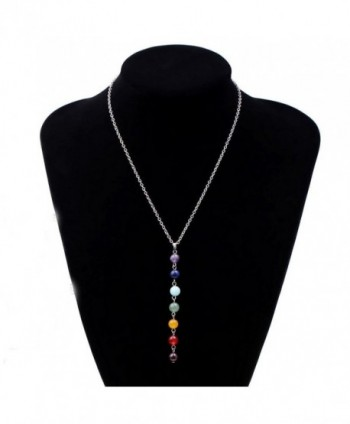 Ammazona 7 Chakra Beads Pendant Chain Necklace for Women Yoga Reiki Healing Balancing - C512N00CR59