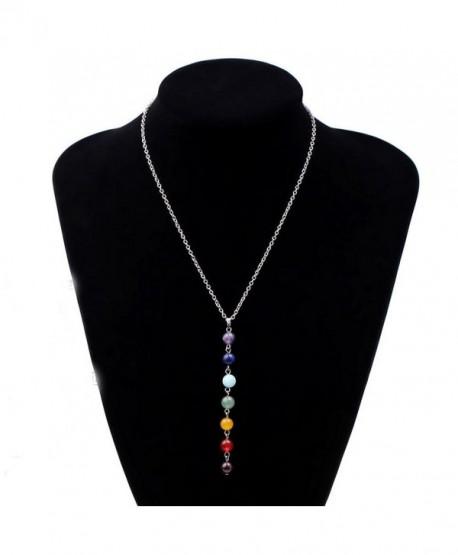 Ammazona 7 Chakra Beads Pendant Chain Necklace for Women Yoga Reiki Healing Balancing - C512N00CR59