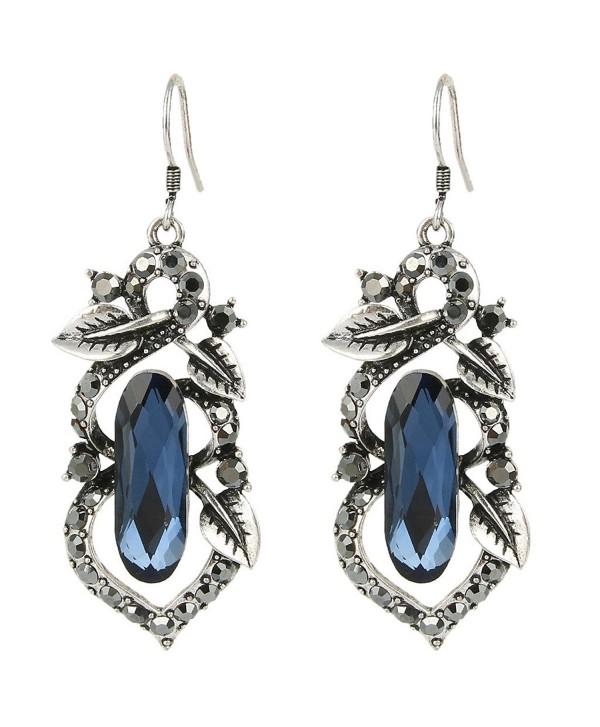 BriLove Oblong Shape Chandelier Earrings Silver Tone - Sapphire Color Antique Silver-Tone - CP11Y0P5215