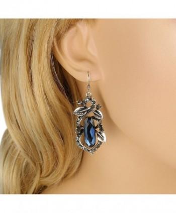 BriLove Oblong Shape Chandelier Earrings Silver Tone