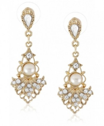 Downton Abbey Gilded Age Gold-Tone Crystal-Studded Fan Earrings with Faux Pearls - C011FM4JT9T