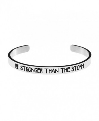Cuff Bracelet Silver Be Stronger Than The Storm Inspritional Bangle for Women - Silver - C218028QKQU