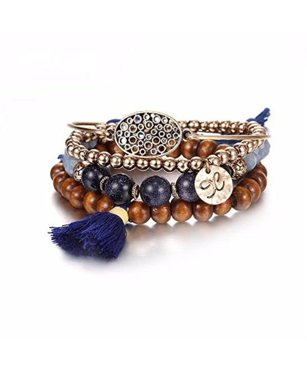 eManco Bohemian Handmade Stackable Beaded Bracelets with Tassel and Charms for Women Jewelry Set customization - CC18509R7R3