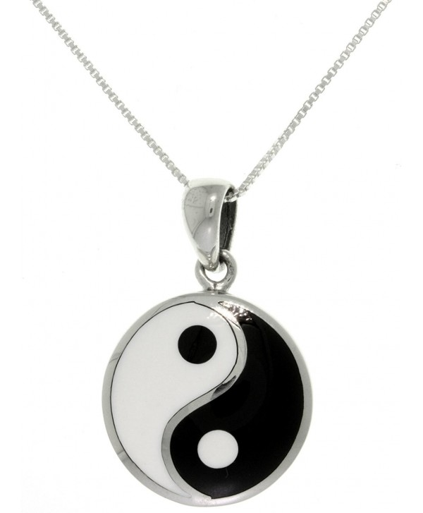 Jewelry Trends Sterling Silver Yin Yang Pendant Black and White Balance Symbol on 18 Inch Chain Necklace - CA11EWO86IF