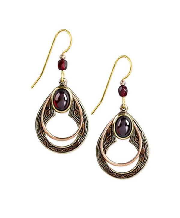 Silver Forest Copper and Goldtone Open Teardrop with Red Wine-color Stone Dangle Earrings - C511TSUA4MN