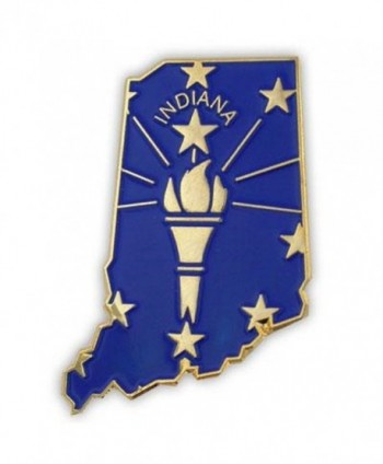 PinMart's State Shape of Indiana and Indiana Flag Lapel Pin - CX119PEP5UJ
