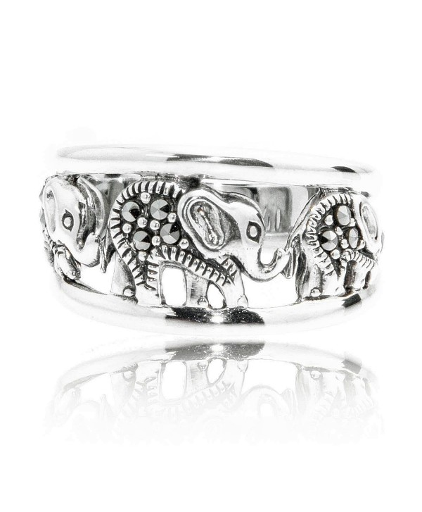 925 Oxidized Sterling Silver Swarovski Marcasite Elephants Band Ring - Nickel Free - C611IA1IB6R