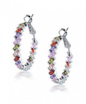 Bling Jewelry Rainbow Clear CZ Baguette Hoop Earrings Rhodium Plated Brass - CV1163A0DQD