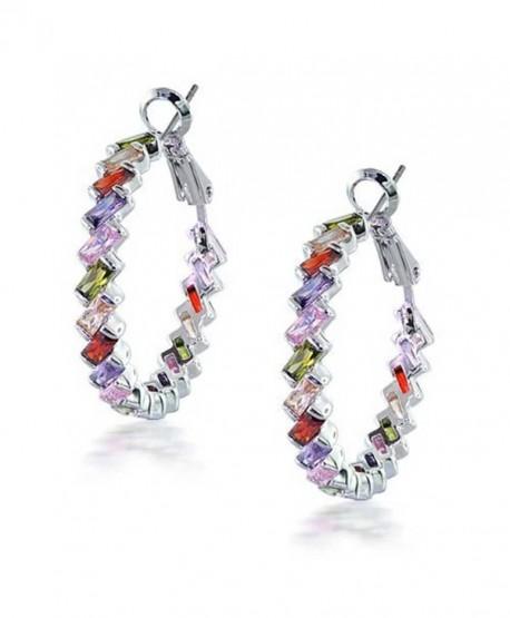 Bling Jewelry Rainbow Clear CZ Baguette Hoop Earrings Rhodium Plated Brass - CV1163A0DQD