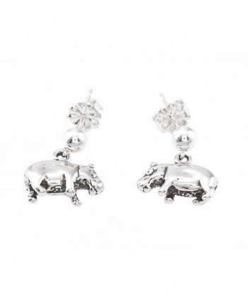 Sterling Silver Oxidized Hippopotamus Hippo Dangle Earrings - CY11DGM0QNR