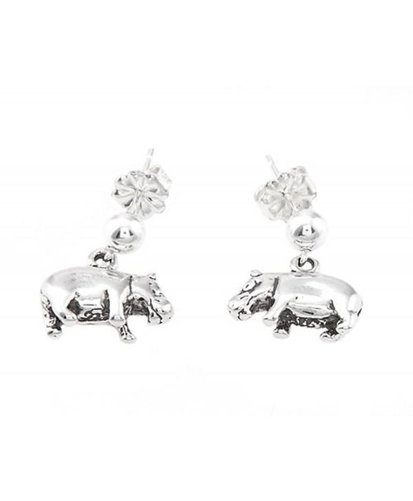 Sterling Silver Oxidized Hippopotamus Hippo Dangle Earrings - CY11DGM0QNR
