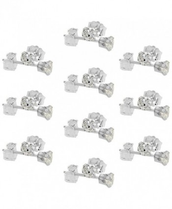 10 Pair Set Sterling Silver Cubic Zirconia Earrings Studs 3 mm 4 prong 1/4 carat/pair - CK11N6FK5WB